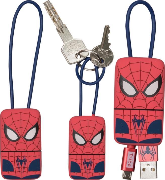 Immagini del portachiavi e cavo USB compatto di Tribe ispirato a Spiderman