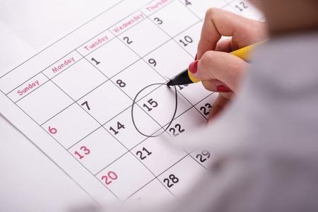 Un numero cerchiato su un calendario