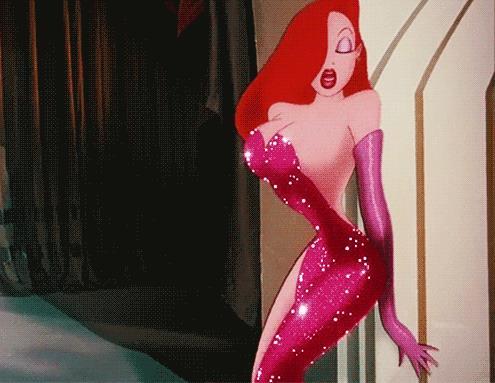 Jessica Rabbit balla con l'abito scintillante
