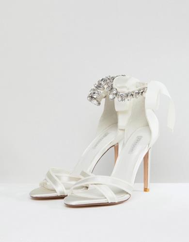 Sandali con tacco e allacciatura alla caviglia con gemme