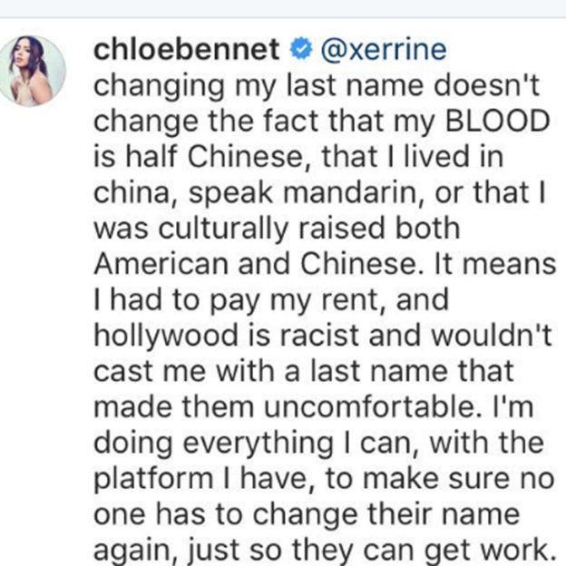 Il messaggio di Chloe Bennet su Instagram