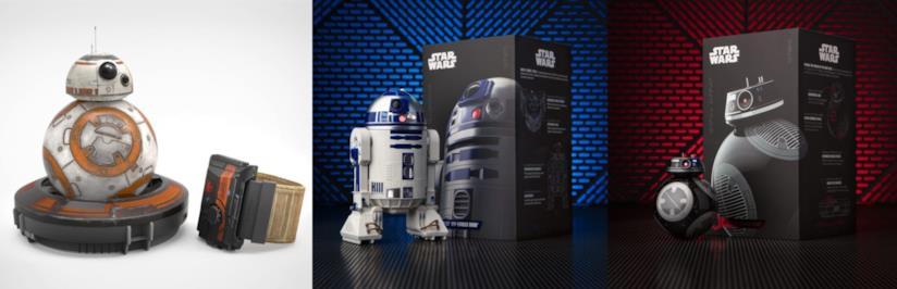 tre droidi Sphero di Star Wars con relative confezioni