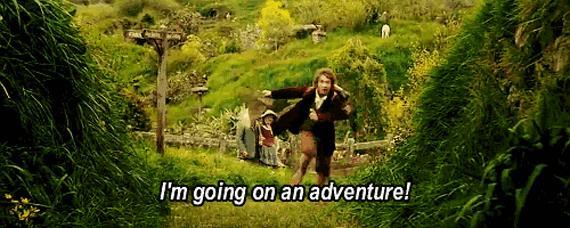 Bilbo Baggins corre verso un'avventura