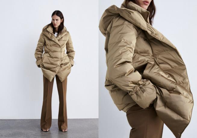 Piumino colore cammello di moda per l'inverno 2018