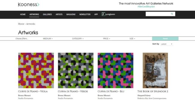 Kooness, una schermata del mercato d'arte on line