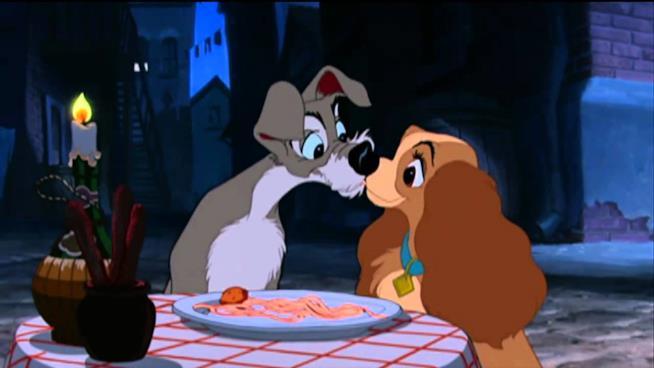Il bacio-spaghetto tra Lilli e il Vagabondo