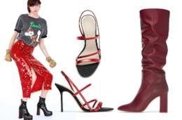 Abiti, scarpe, cappotti, borse rosso e fucsia