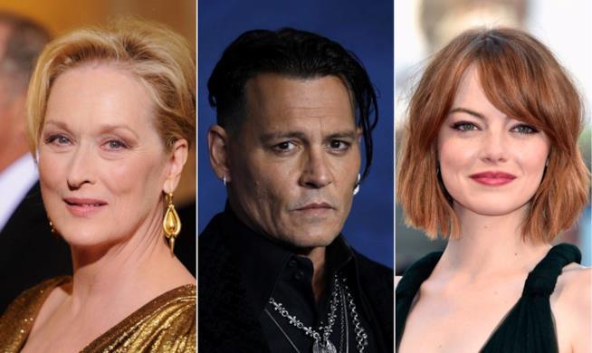 Collage tra Meryl Streep. Johnny Depp ed Emma Stone