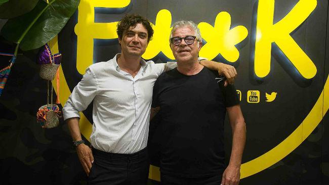 Riccardo Scamarcio con Francesco Giorgio di F**K a Pitti Uomo