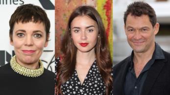 Gli attori Olivia Colman, Lily Collins e Dominic West