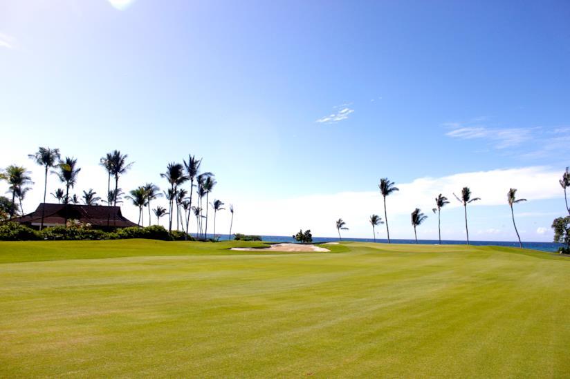 Scorcio di un campo da golf hawaiiano