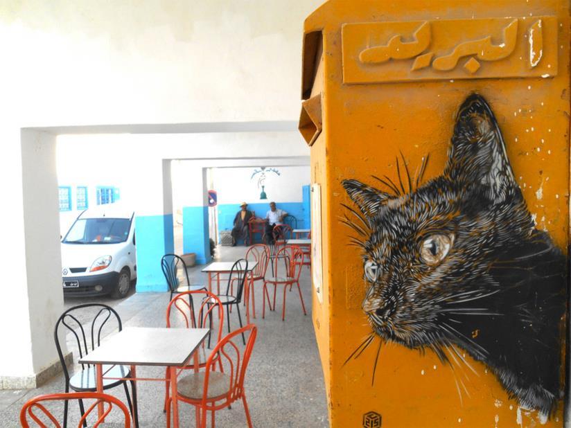 Una cassetta della posta con il ritratto di un gatto