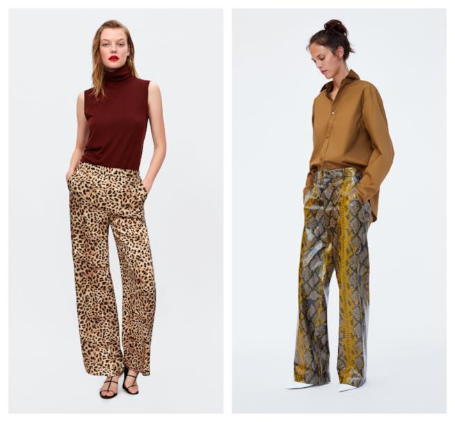 Maculati e pitonati, i pantaloni di tendenza animalier autunno inverno 2018-19