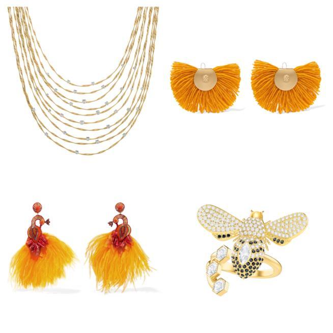 Orecchini, collana e anello giallo di moda per l'autunno 2018