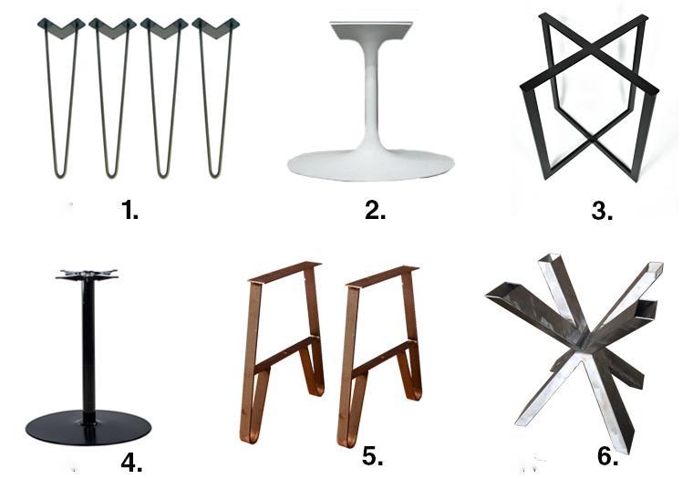 Esempi di varie tipologie di basi per tavoli di legno