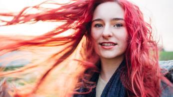 Collage tra capelli rosa e fenicottero