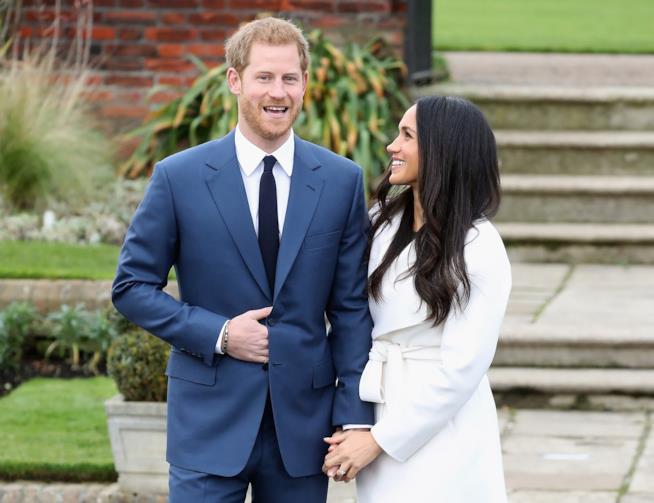 Harry e Meghan Markle durante l'annuncio del fidanzamento