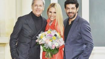 Claudio Baglioni, Michelle Hunziker e Pierfrancesco Favino alla conferenza stampa di Sanremo 2018