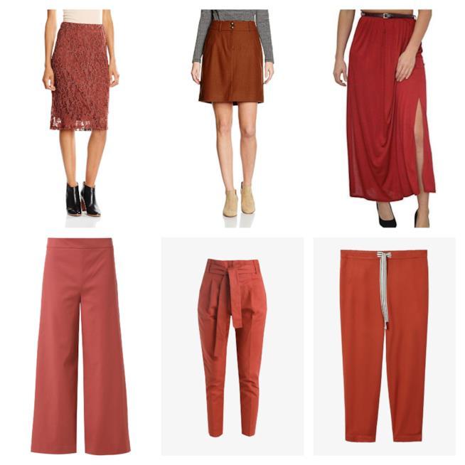 Terracotta, le gonne e i pantaloni di tendenza 2018