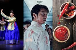 Immafini di danza tradizionale coreana, scena di Train to Busan, immagine di cucina coreana