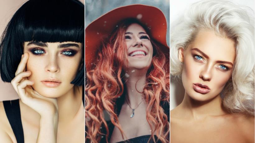Collage di capelli biondi, rossi e neri