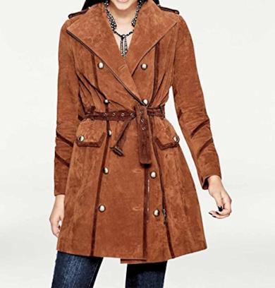 Cappotto colore ruggine con cintura