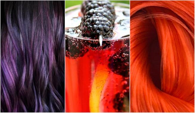 Collage tra capelli purple, orange e un cocktail