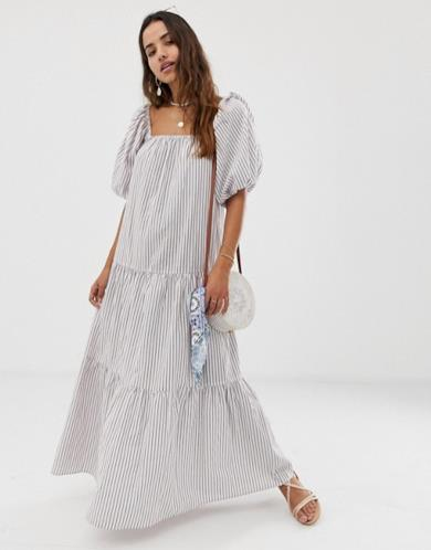 Maxi dress con maniche a palloncino