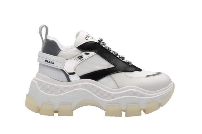 Chunky Sneakers in pelle bicolore bianco/nero con dettagli argento e lacci bicolore