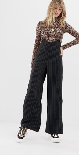 Pantaloni gessati con bretelle