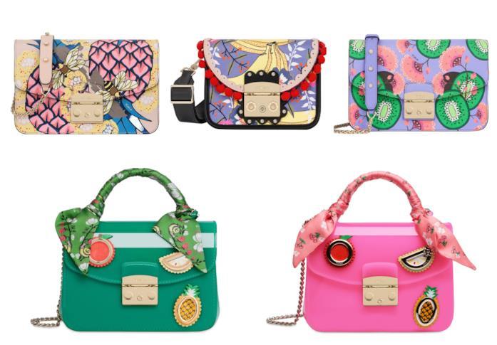 Con le stampe della frutta, le borse colorate e di tendenza per l'estate 2018