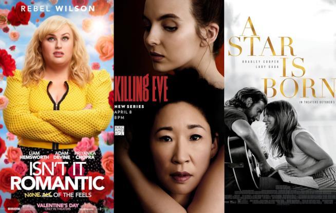 I poster di Non è romantico?, Killing Eve e A Star Is Born