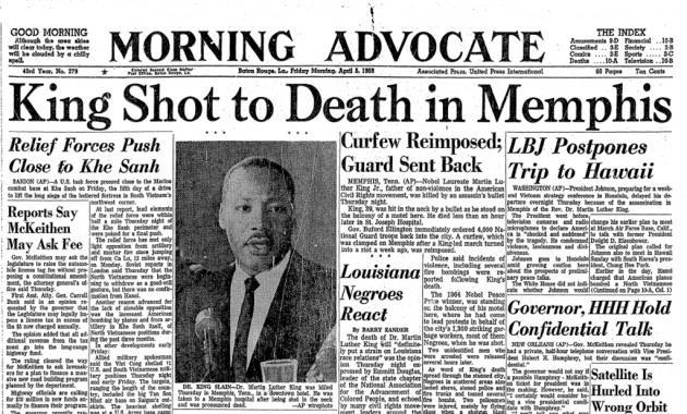 Quotidiano del 1968 sulla morte di King
