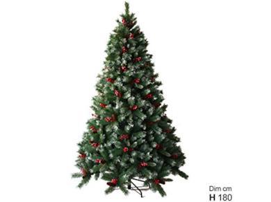 Albero di Natale artificiale con bacche e pigne