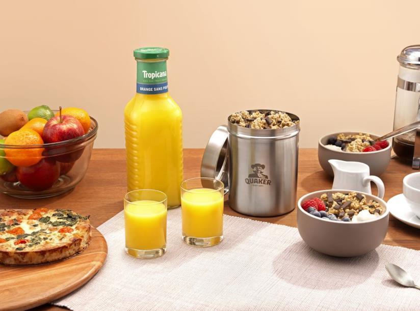 Una colazione a base di Spremuta Tropicana e Cereali Quakers
