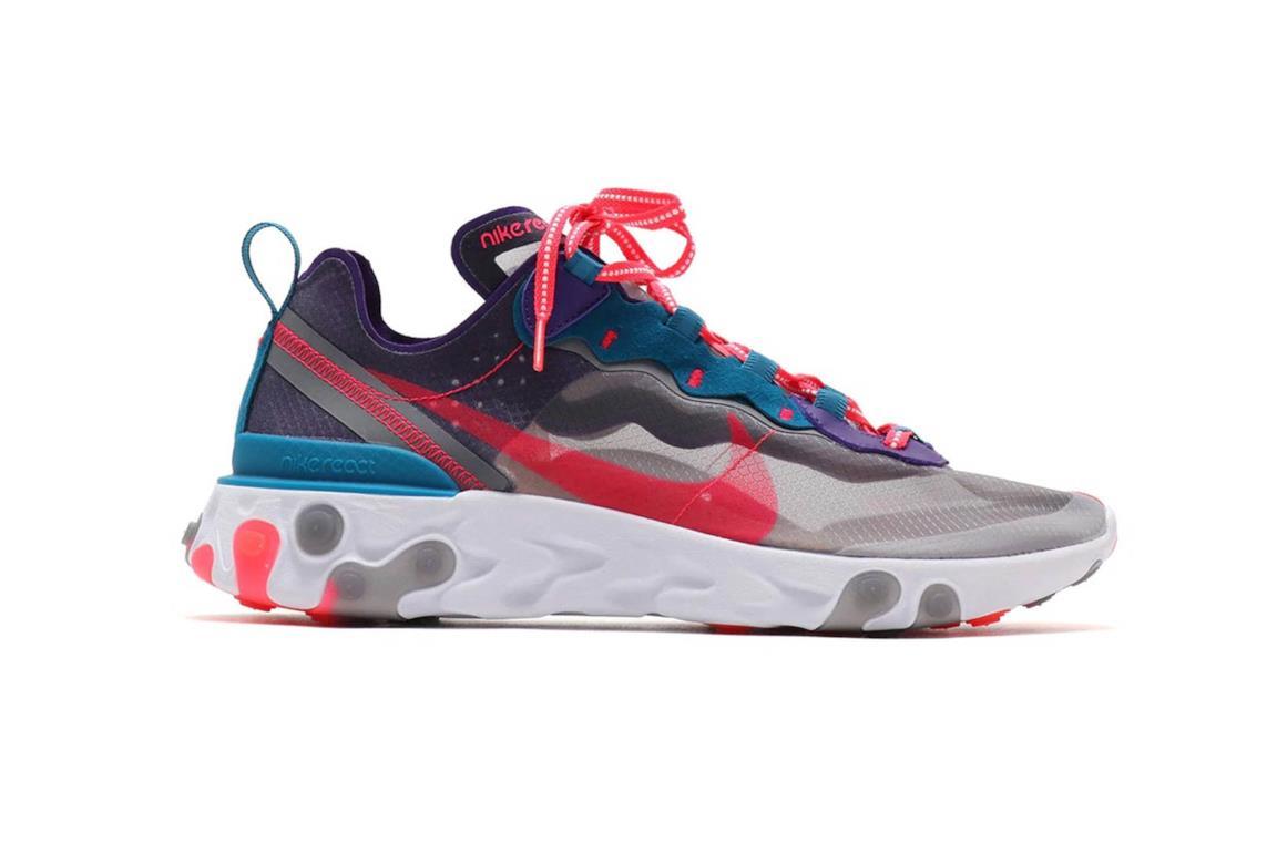 Nike React Element 87 nella colorazione viola, rosa, rosso e blu