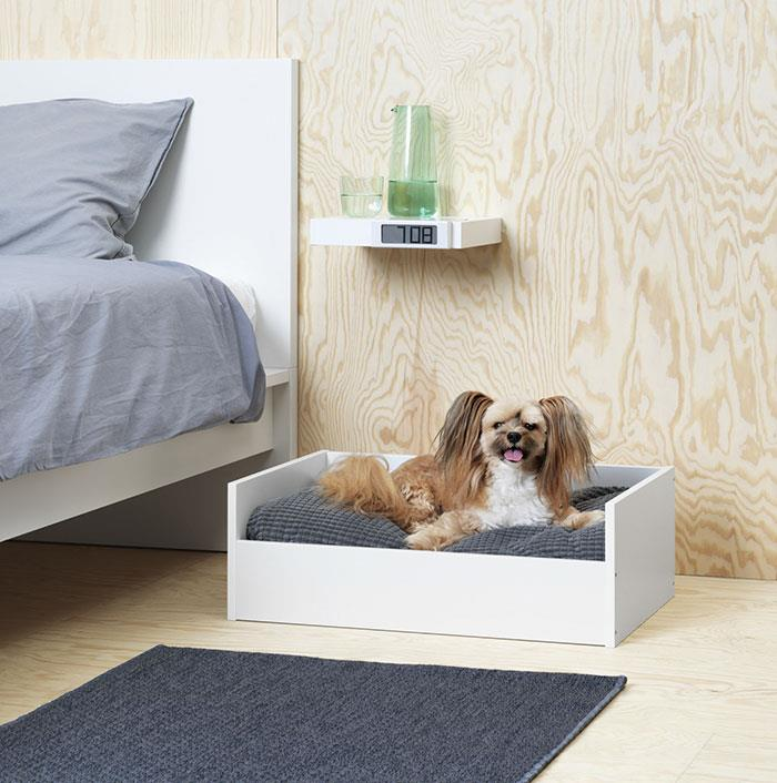 Un cane sdraiato su un letto per animali IKEA