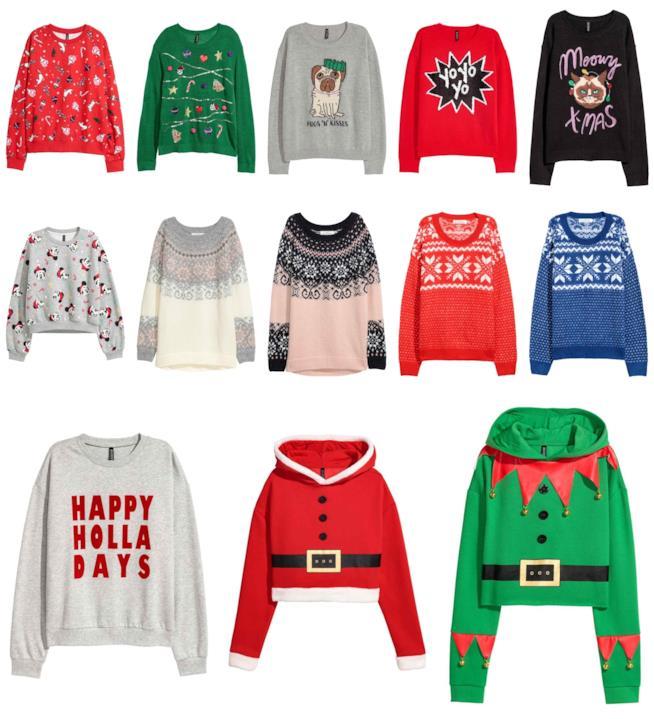 tredici maglioni natalizi di marca H&M