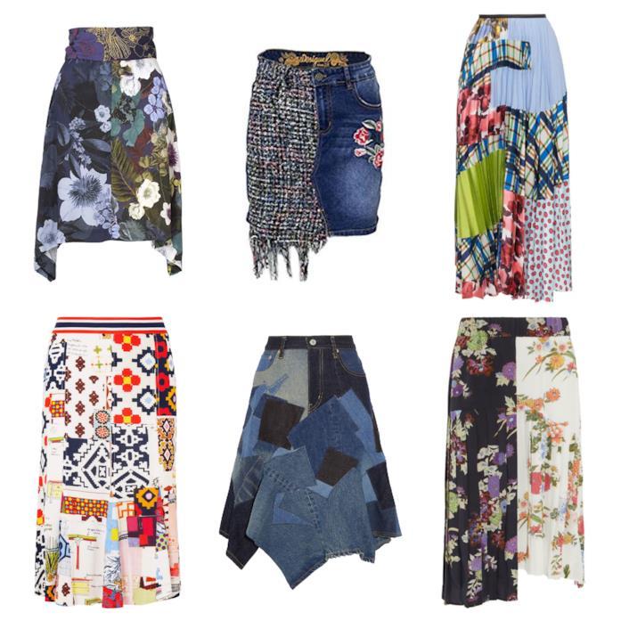 Le gonne patchwork di moda per l'estate e l'autunno 2018