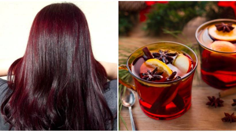 Collage capelli color vin brûlé e tazze di vin brûlé