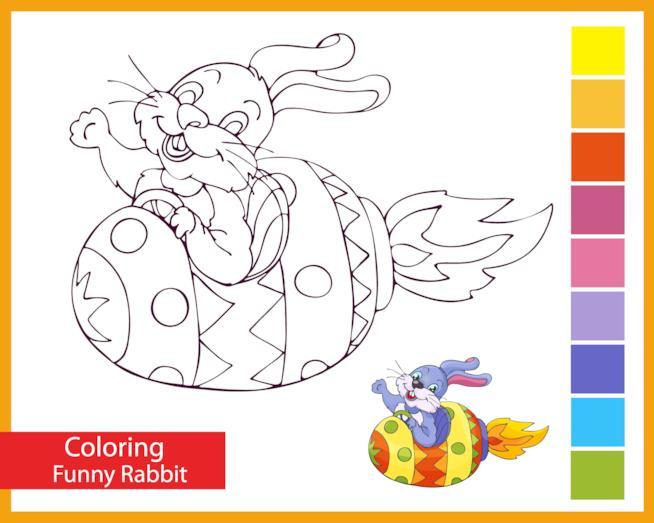 Coniglio simpatico vola a bordo di un uovo di Pasqua