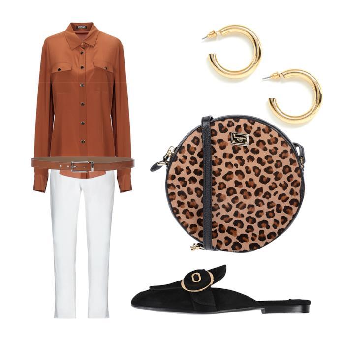 Outfit con borsa animalier
