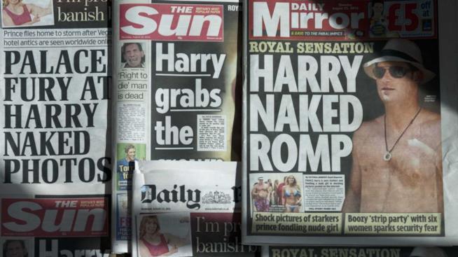 Alcune copertine scandalistiche dedicate a Harry