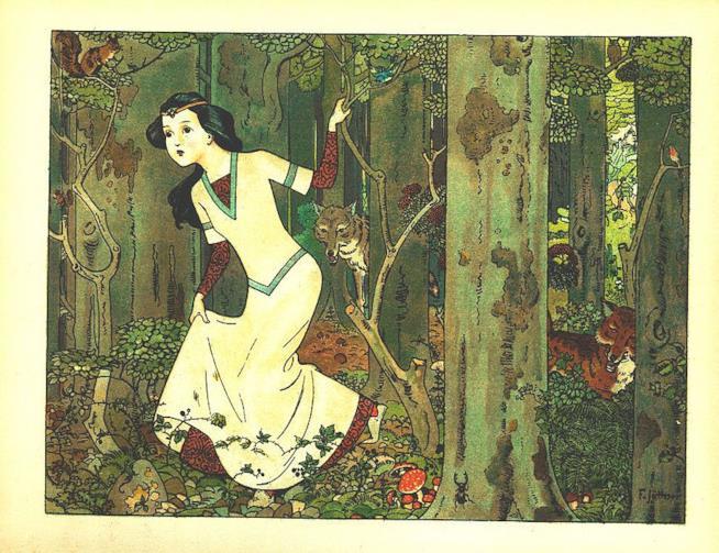 La principessa Biancaneve che ricorda le fiabe dei Grimm.