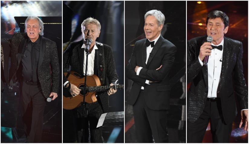 Un collage di giacche di uomini a Sanremo