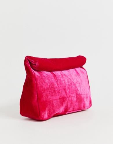 Pochette rolltop in velluto