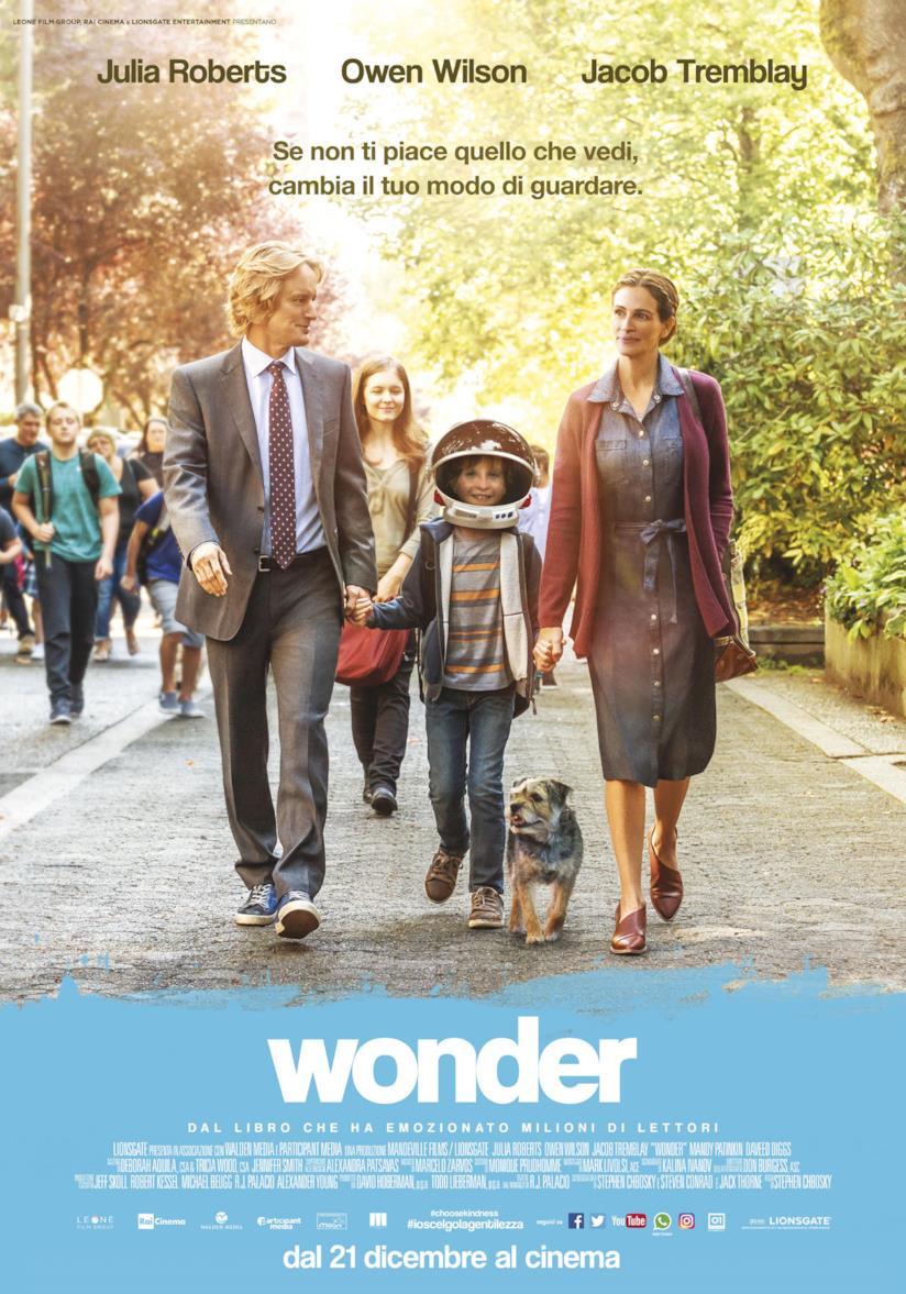 Locandina del film Wonder con i tre protagonisti