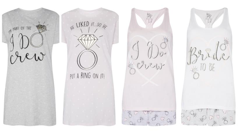 Collage tra camicie da notte e pigiami sposa