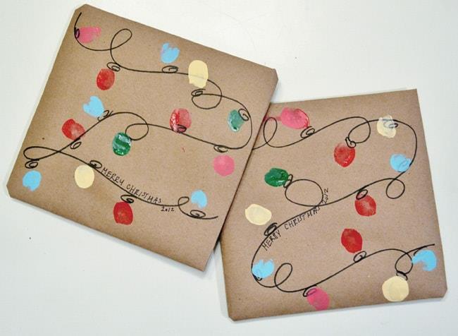Dettaglio della carta regalo dipinta a mano