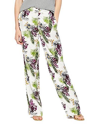 Pantaloni palazzo bianchi a fiori